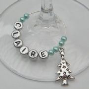 Starry Christmas Tree Personalised Wine Glass Charm